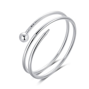 925 Sterling Silver Bangle Bracelet - Anna Pin Wrap Bangle Bracelet - Hollywood Sensation