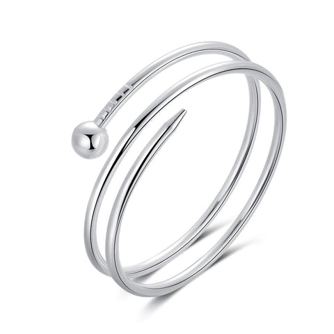 Sterling Silver Plated Anna Bracelet-Sterling Silver Plated Pin Wrap Bangle - Hollywood Sensation