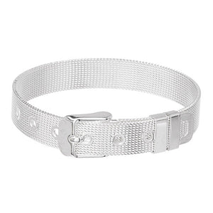 925 Sterling Silver Plated Bracelet - Belt Buckle Mesh Bracelet-Bracelets for Women - Hollywood Sensation