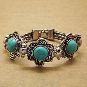 Vintage Turquoise Silver Bangle Retro Bracelet- Antique Turquoise Bracelet - Hollywood Sensation