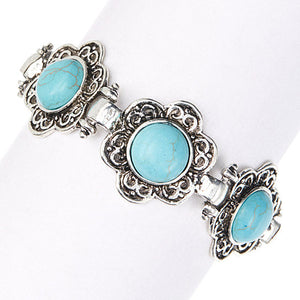 Blue Island Retro Turquoise Bracelet Silver - Hollywood Sensation