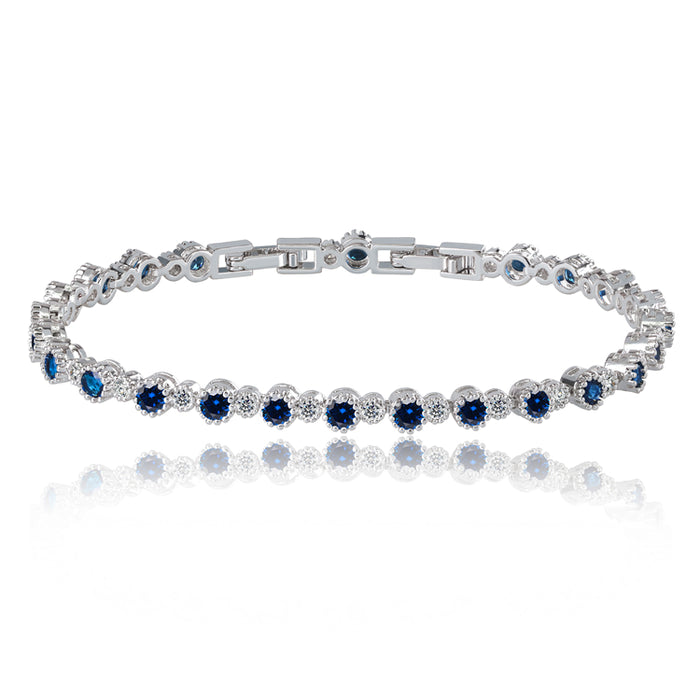 Sapphire and White Diamond Tennis Bracelet with Round Cut Cubic Zirconia