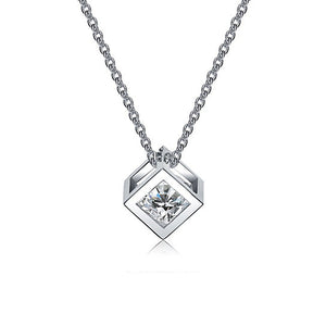 White Gold Necklace with Pendant for Women - Cubic Crystal Necklace - Hollywood Sensation