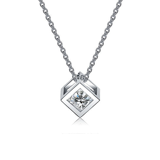 White Gold Necklace with Pendant for Women - Cubic Crystal Necklace