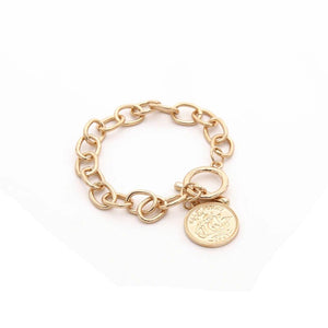 Gold Link Bracelet with Coin Charm - Hollywood Sensation