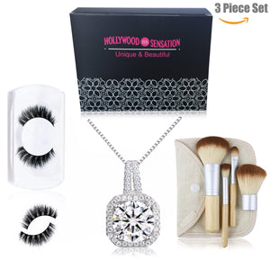 Women Pendant Necklaces Round Cut Cubic Zirconia18k White Gold Plated+Natural Mink Mega Volume Eyelashes+Travel Size 4 Pieces Makeup Brushes - Hollywood Sensation