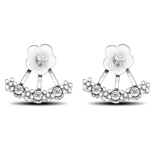 Daisy Stud Earrings Gold Plated with Cubic Zirconia - Hollywood Sensation