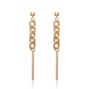 Gold Chain Drop Earrings - Hollywood Sensation