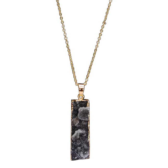 Druzy Bar Necklace Gold Plated