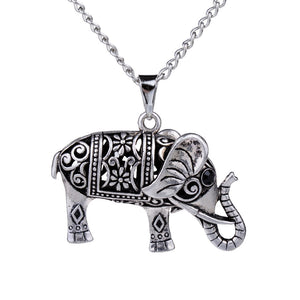 Vintage Silver Elephant Pendant Necklace- Siam Legacy Necklace - Hollywood Sensation