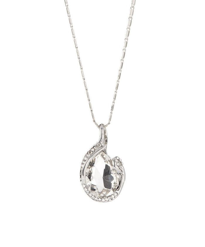 Olympia Crystal White Gold Plated Necklace with Pendant
