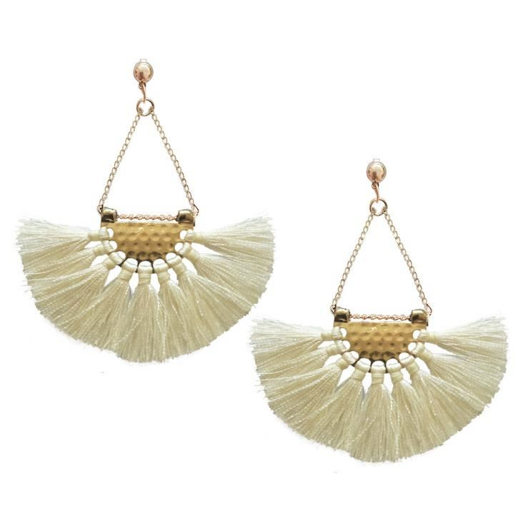 Tassel Earrings-White Earrings-White Tassel Earrings for Women-Drop and Dangle Earrings - Hollywood Sensation