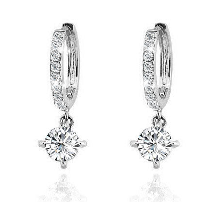 Daisy Earring 18K Gold and  White Gold Plated - White Gold - Hollywood Sensation