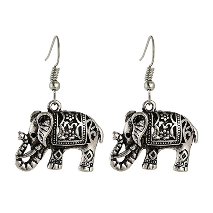 Drop Elephant Earrings Tibetan Silver