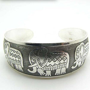 Elephant (Symbol of Strength, Honor, Stability and Patience) Retro Silver Plated Bracelet-Boho Silver - Hollywood Sensation
