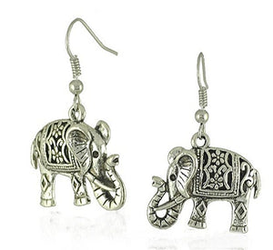 Drop Elephant Earrings Tibetan Silver - Hollywood Sensation