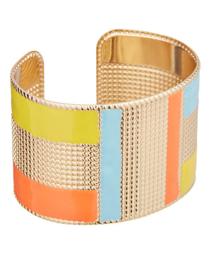 Gold Cuff Bracelet with Ceramic Colors - Hollywood Sensation