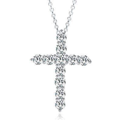 Enduring Faith Cross Simulated Diamond Necklace