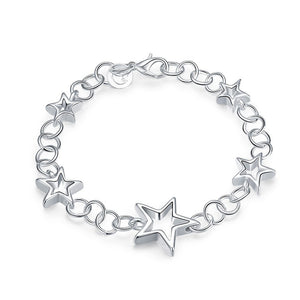 Silver Plated Link Charm Bracelets for Women - Emery Star Bracelet - Hollywood Sensation