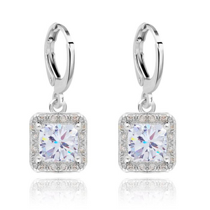 Cubic Zirconia Earrings Square Halo Drop - Hollywood Sensation