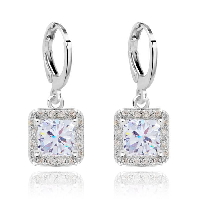 "Crystal Drop Earrings Gold Plate Cubic Zirconia ""Ever After Earrings"""