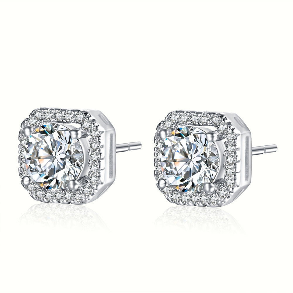 Gabriela Square Simulated Diamond Studded Earrings - Hollywood Sensation