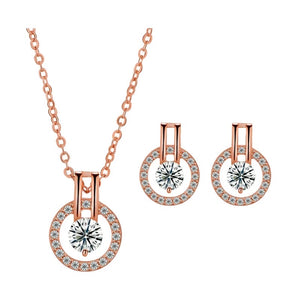 "Cubic Zirconia Necklace & Cubic Zirconia Earrings-Hollywood Sensation's-""Linda"" Necklace and Earring Set"