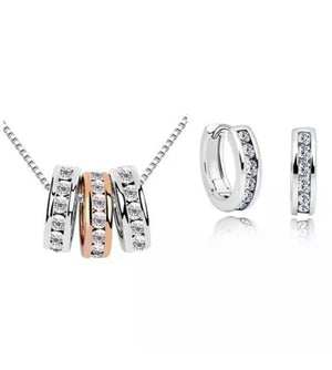 Milan Necklace and Huggie Earring Set 18K White Gold ,Rose Gold Plated