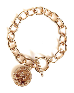 Gold Link Bracelet with Coin Charm