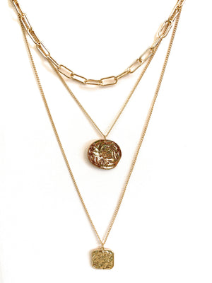 Multi Layered Necklace with Coin and Square Pendant