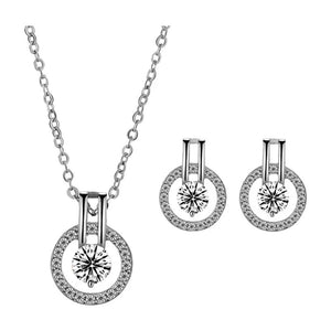 Linda Simulated Diamond Necklace and Earring Set