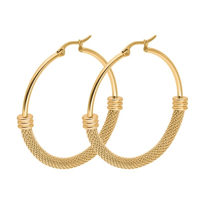 Mesh Hoop Gold Plated Earrings For Women