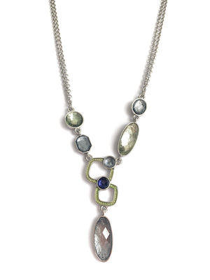Kristin Statement Silver Necklace With Colorful Crystal