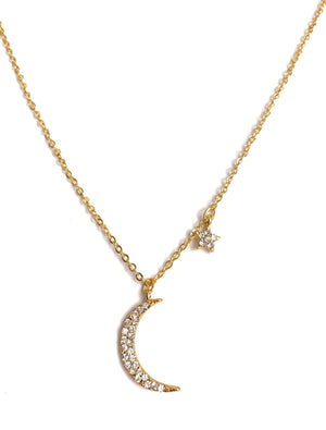 Dainty Moon Star Necklace Gold Plated with Cubic Zirconia