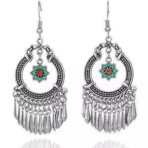 Boho Vintage Indian Silver Flower Tassel Dangle Earrings - Hollywood Sensation