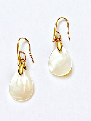 Iridescent Natural Shell Dangle Earrings