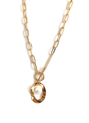 Large Link Necklace Gold Plated with Simulated Pearl
