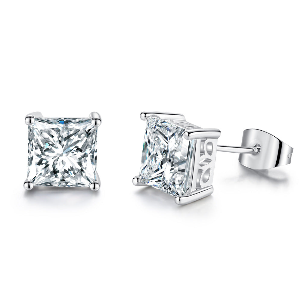 Princess Cut Stud Earrings-Princess Cut Cubic Zirconia Earrings - Hollywood Sensation
