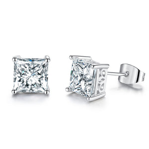 Princess Cut Stud Earrings Cubic Zirconia Gold Plated - Hollywood Sensation