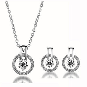 Linda Simulated Diamond Silver Earrings and Necklace Set - Hollywood Sensation