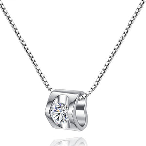 White Gold Crystal Heart Necklace - Hollywood Sensation