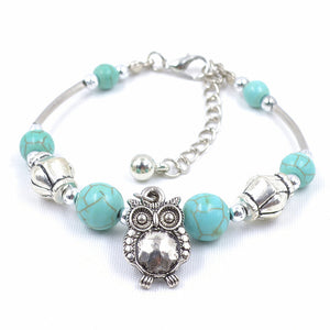 Adjustable Turquoise Owl Silver Bangle Bracelet - Hollywood Sensation