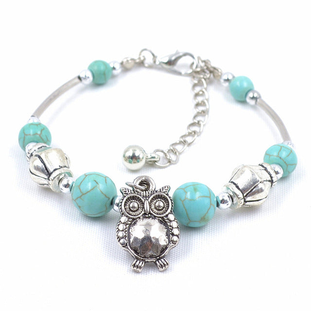Adjustable Turquoise Owl Bracelet With Turquoise Beads