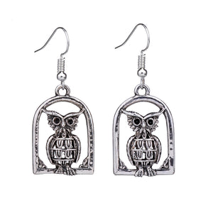 Vintage Owl Drop Dangle Silver Retro Earrings-Owl Vintage Earrings - Hollywood Sensation