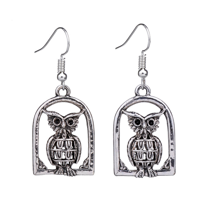 Vintage Owl Drop Dangle Silver Retro Earrings-Owl Vintage Earrings