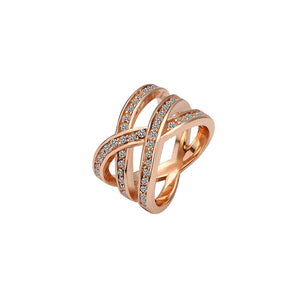 Ellie Rose Gold Plated White Cubic Zirconia Ring - Hollywood Sensation