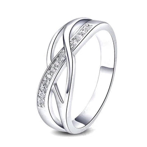 Silver Crystal Braided Ring, Fashion Jewelry Brands