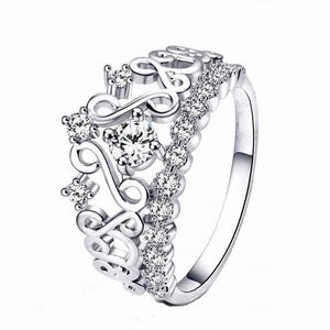 Princess Crown Ring with Cubic Zirconia Stones