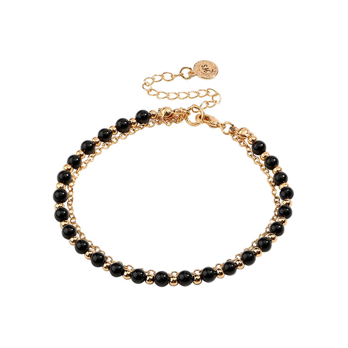 Gold and Black Beaded Friendship Bracelet