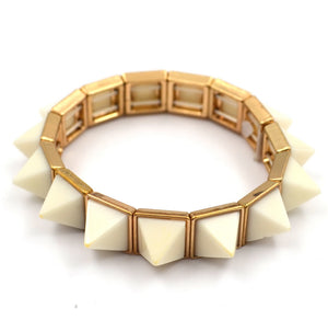 Trendy White Spiked Gold Bangle Cuff Bracelet - Hollywood Sensation